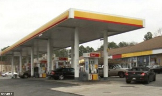 At the time of the incident, the 46-year-old's 2015 Mercedes Benz S63 was being driven by another driver who stopped to fill up the luxury vehicle at a Shell gas station on Fulton Industrial Boulevard (above) on December 20