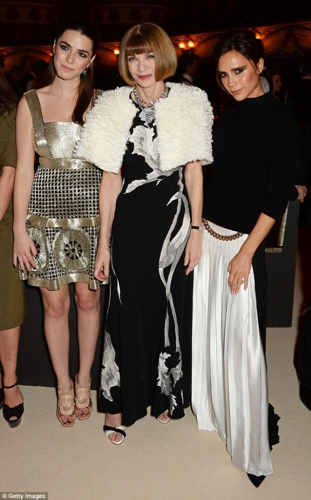 Fashion royalty: Victoria is known to be good friends with American Vogue Editor in Chief Anna (centre, here in December 2014 with Anna's daughter Bee Shaffer)