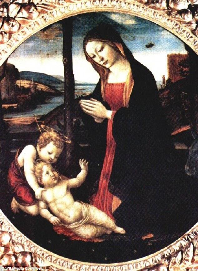 En esta pintura, el artista renacentista italiano Domenico Ghirlandaio representa a María madre de Jesús mirando hacia abajo sobre dos niños.  A la derecha de la cabeza de María, un extraño objeto volador se puede ver en el fondo, lo que algunos cazadores de ovnis creen que es un OVNI