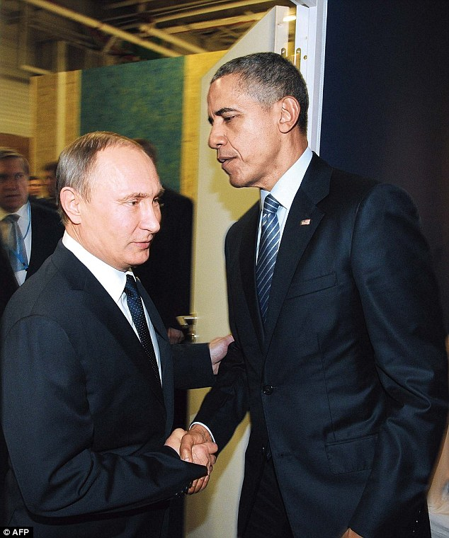 Tensions between the U.S. and Russia have been on the rise in recent days since President Obama announced sanctions against Putin's government for hacking during the election. The two are pictured together in November 2015