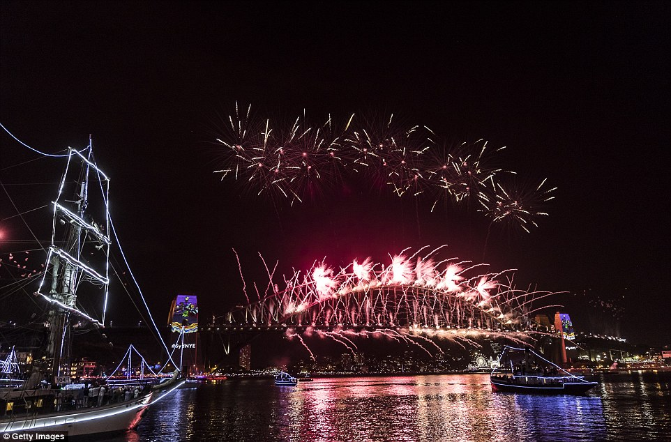 At one point the word 'Sydney' was spelled out with fireworks as revellers partied on boats in the harbour