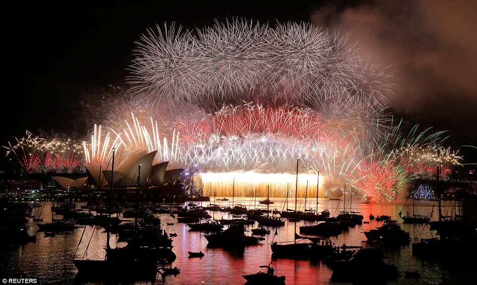 Sydney Harbour Bridge was doused in the bright light of an estimated seven tonnes of fireworks during two displays