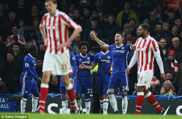 Defender Gary Cahill scored the opener but the leaders did not have everything go their way