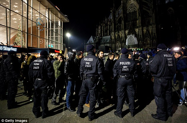 Cologne: Police officers in the German city stand guard in front of Hauptbahnhof main railway station