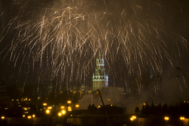 Fireworks explode over the Kremlin, during New Year celebrations in Moscow, Russia, Sunday, Jan. 1, 2017. New Year is Russia's major gift-giving holiday, and...