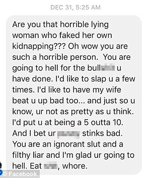 A stranger sent this vile message to Denise Huskins. She wrote a Facebook post about the cruelty she has received online and Aaron Quinn also wrote about the online absue