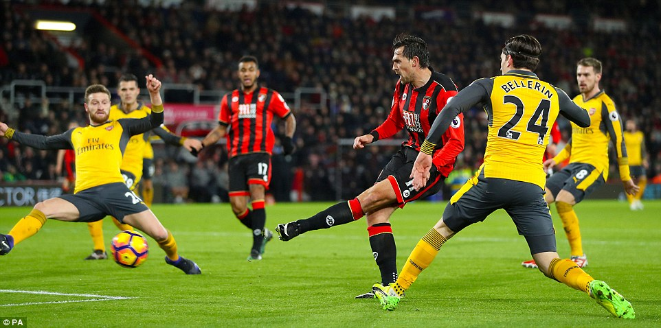 Charlie Daniels scored the opener for Bournemouth in the 16th minute with this strike from inside the box