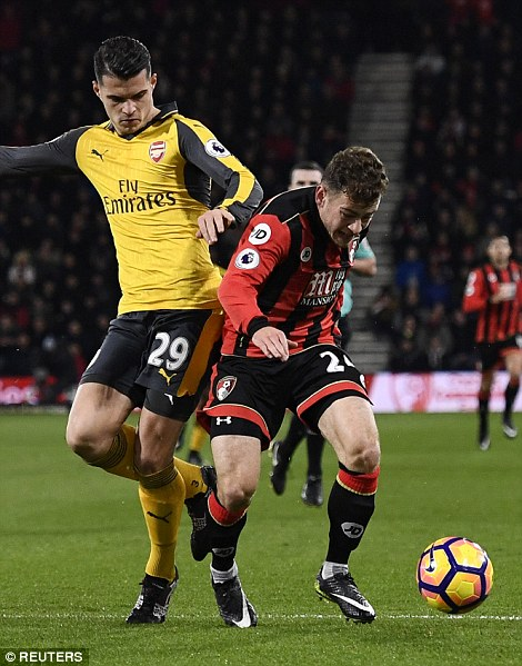 Bournemouth won a penalty when Arsenal midfielder Granit Xhaka committed this foul on Ryan Fraser