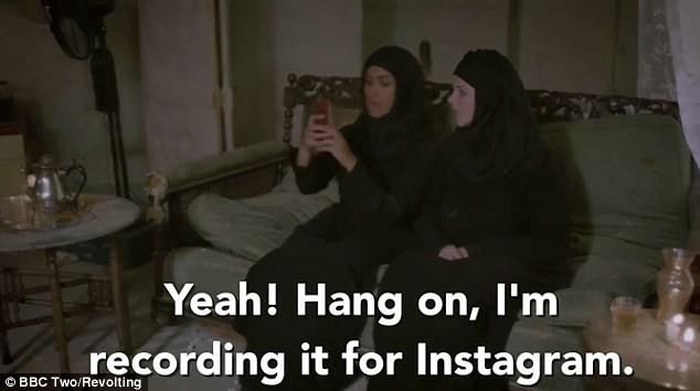 Two of her friends take video of the woman in the vest, later saying they will post them in Instagram with the hashtag 'Jihadi Jane'