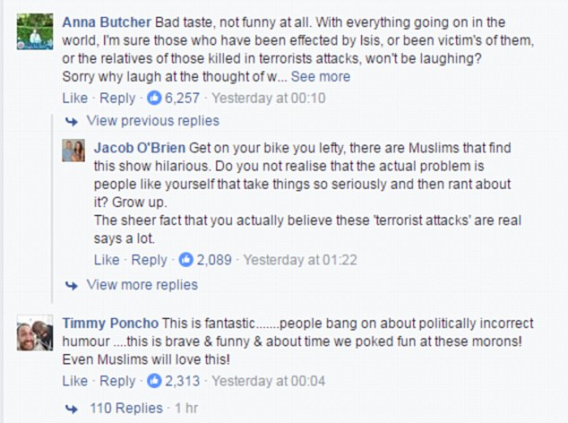The clip polarised opinion, with some claiming it is 'not funny at all' (top), while others in the comments below calling it 'fantastic' for poking fun at these 'morons' (ISIS)