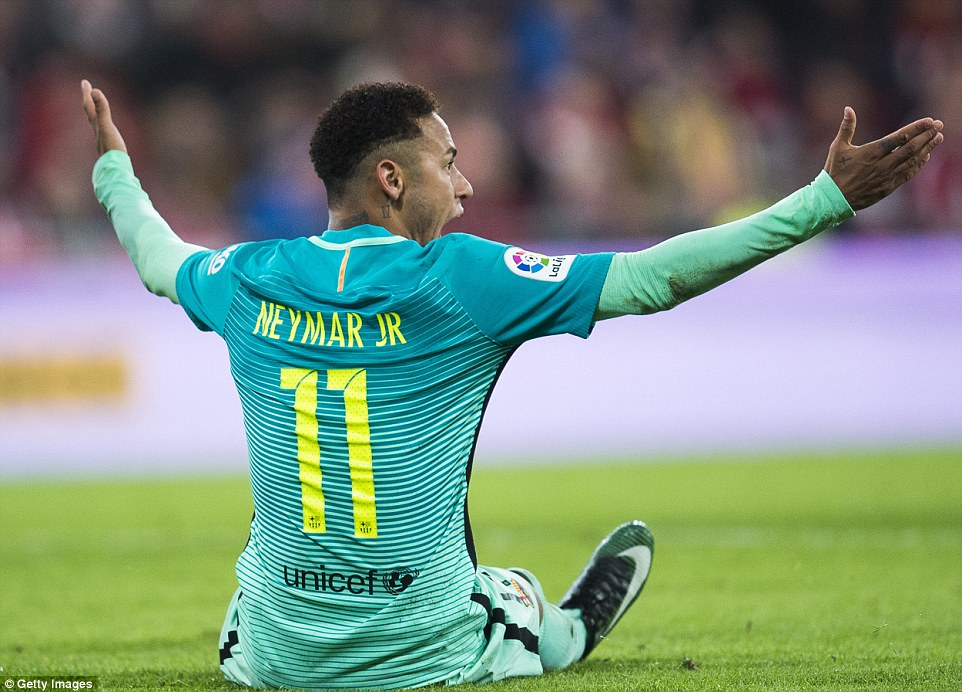 Brazilian forward Neymar screams his displeasure at the referee after he is upended yet again by one of the Bilbao stars