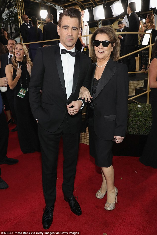 Mum's the word!Colin Farrell  arrived in style with his glamorous mother Rita at the 74th Golden Globes at the Beverly Hilton Hotel in Los Angeles on Sunday