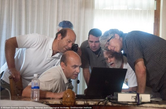Team: The team (l-r: explorer Steve Elkins; documentary maker Bill Benenson (rear); Michael Sartori (seated); Virgilio Paredes; Tom Weinberg; and  Preston) examine a map of the 20,000sqm area created using advanced laser-scanning technology