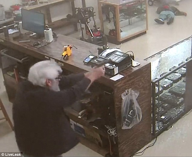 The 64-year-old reached for his own gun, opening fire on the robbers to kill one as the other ran for his life