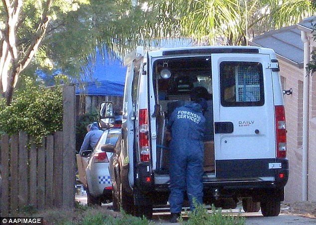 Forensic specialists are pictured at the North Epping home where all five of the bodies were found in 2009. The court heard that Xie cut the electricity before entering the house