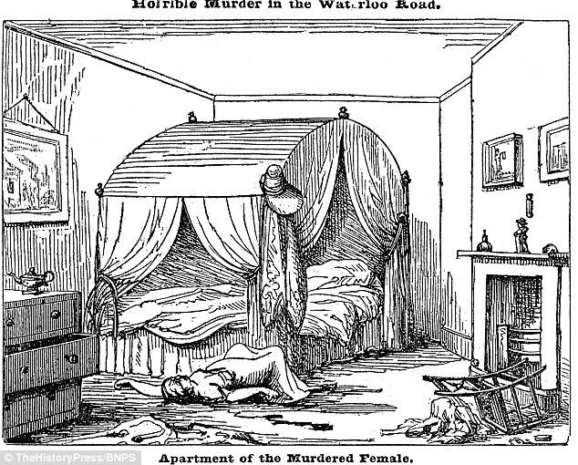 Ms Grimwood se encontró con su corte de garganta y el abdomen 'brutalmente arrancado' en su habitación, después de haber 'tenido un hogar del cliente desde el teatro la noche anterior. En la foto de su muerte como se dibuja en la Crónica semanal en junio de 1838