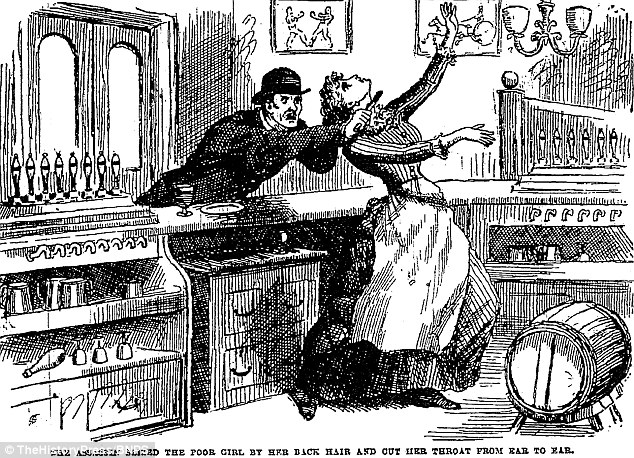 Este dibujo de la noticias ilustradas de Policía en 1888 representa la muerte de camarera de 21 años de edad, Eliza Davies, que murió en el pub armas del Rey en la Cruz del Rey en 1837 después de tener su garganta cortada. Dr. Bondeson afirma testigos dijeron que fue vista con un 'hombre de aspecto extranjero' que alegó fue Courvosier