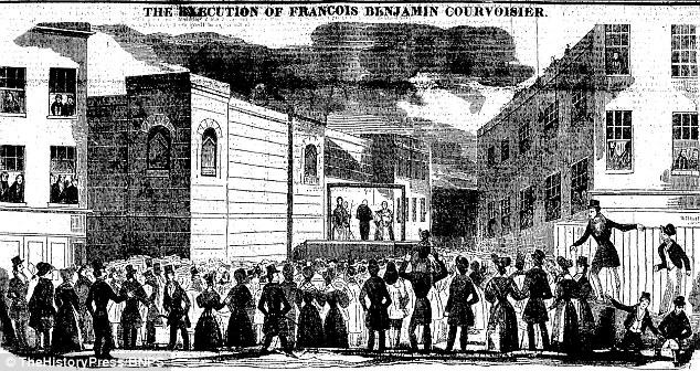 Courvosier fue ahorcado, como se muestra aquí en una caricatura de la Gaceta de la Policía del Pueblo a partir de julio de 1840, después de haber sido encontrado culpable de asesinar a Lord Russell. Era tan sólo 24 años de edad