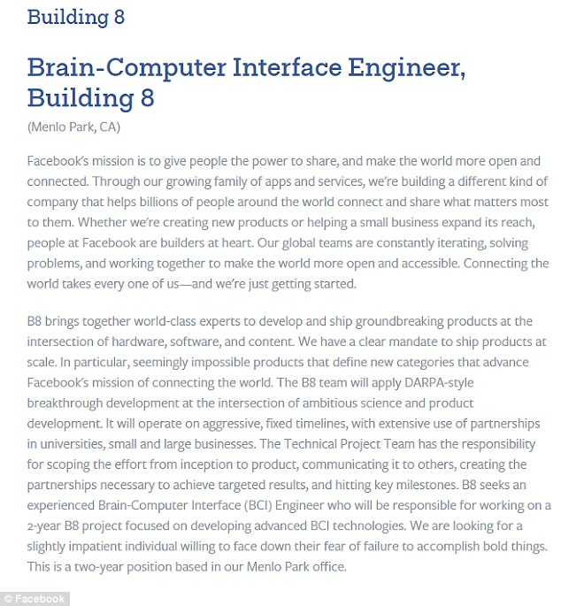 One advert is for a 'brain-computer interface engineer' to work on a '2-year B8 project focused on developing advanced BCI technologies'