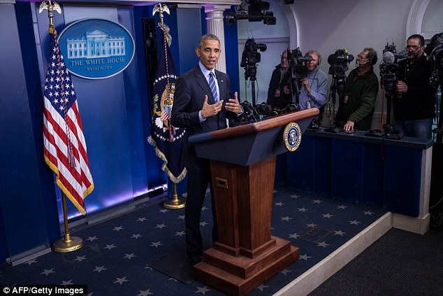 The move comes about a week before the President leaves office. President Obama is pictured giving his end of year press conference on December 16 in the White House