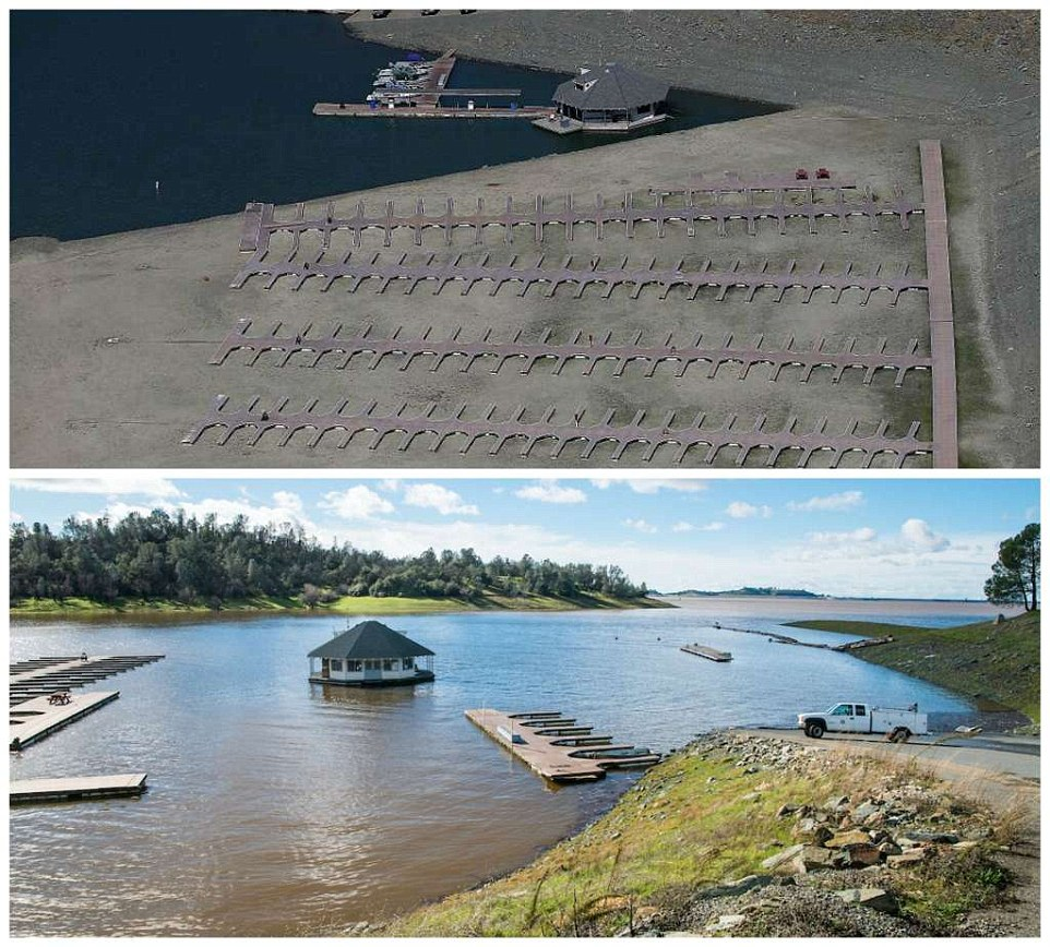 These photos show the stark difference between the docks at Browns Ravine in 2014 (above) and in 2017 (below)