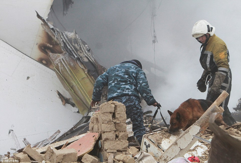 Sniffer dogs were called in as rescuers launched a desperate bid top find survivors after the plane crash this morning