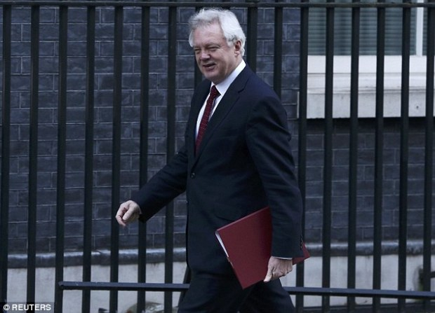 Brexit Secretary David Davis, seen arriving for Cabinet today, is due to make a statement to MPs in the Commons later