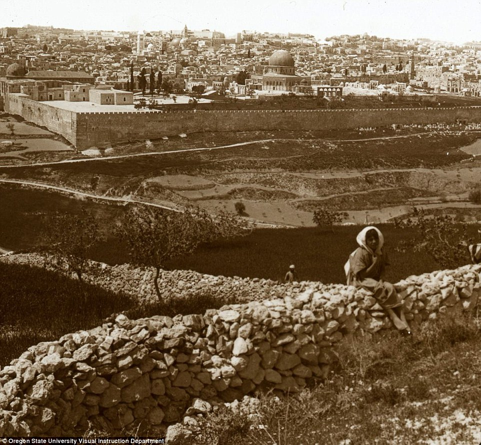 Jerusalem from the Mount of Olives. Directly in front is the south eastern corner of the modern wall, which follows the course of the ancient wall