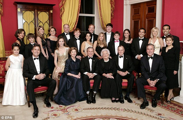 Bush (second from right in the front row, sitting next to his wife with the rest of his family in 2005), was taken to Houston Methodist Hospital, Texas after falling ill, according to his office chief of staff, Jean Becker