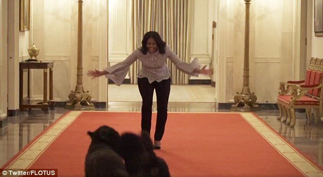 Michelle Obama released a video on Wednesday, showing her taking one last look around the White House with the family dogs Bo and Sunny