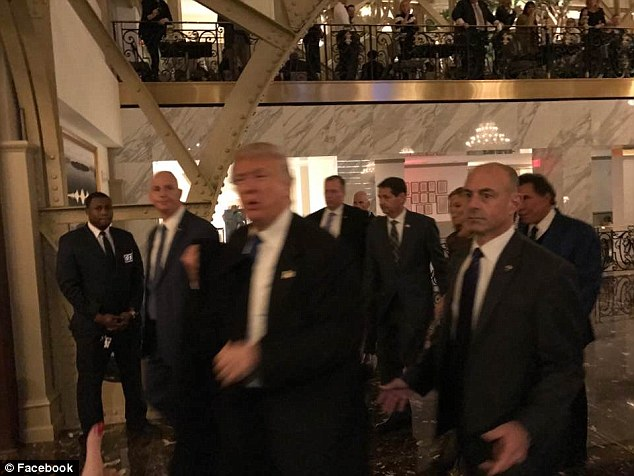 Trump made a whirlwind visit to his Washington hotel before getting back on the road and returning to New York