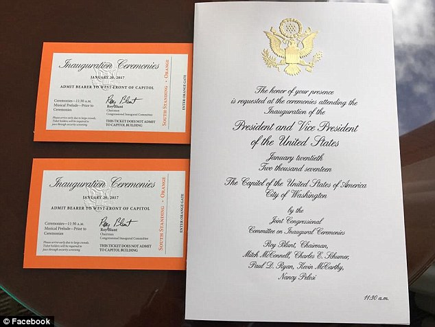 Jenna Setticasi shared this photograph on Facebook earlier on Wednesday showing her inauguration tickets