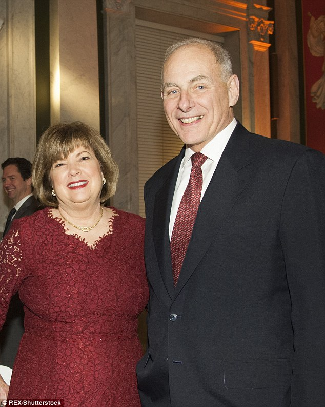 Secretary of Homeland Security nominee John F. Kelly and wife Karen Hernest were seen at te dinner
