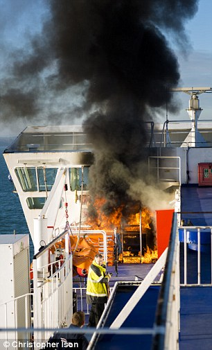 Isle of Wight ferry catches fire in the Solent  Daily Mail Online