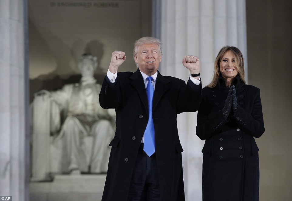 Guests of honor: President-elect Trump and his wife Melania arrive at a pre-Inaugural Make America Great Again! Welcome Celebration