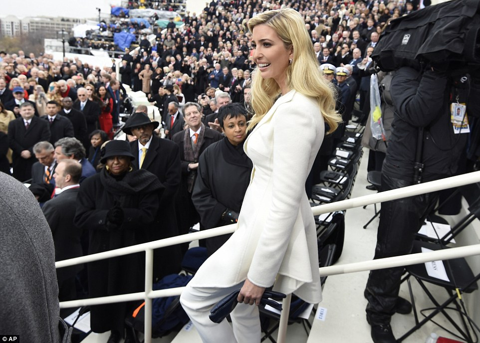 Ivanka Trump arrives on Capitol Hill in Washington, Friday, Jan. 20, 2017, for the presidential inauguration of her father Donald Trump