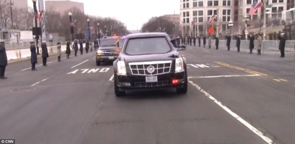 The President and President-elect make the drive from the White House to Capitol Hill on Friday
