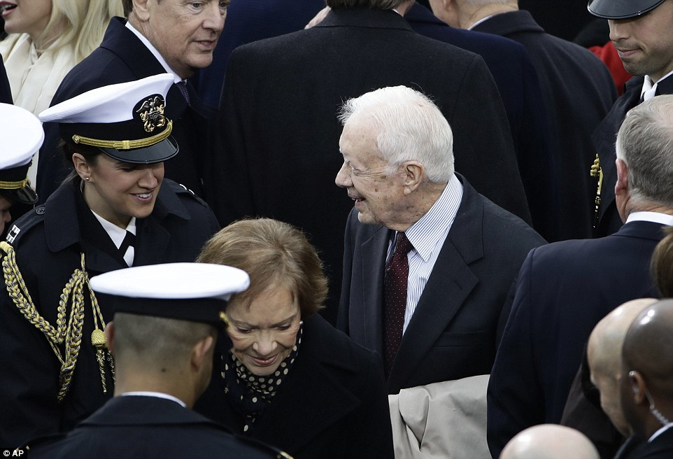 Former President Jimmy Carter and his wife Rosalyn arrive for the 58th Presidential Inauguration for President-elect Donald Trump at the U.S. Capitol in Washington, Friday, Jan. 20, 2017