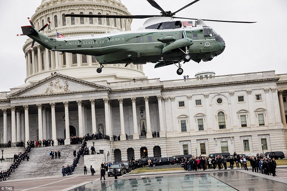Marine One, carrying outgoing President Barack Obama and outgoing First Lady Michelle Obama, takes off from the capitol after Donald J.Trump's inauguration as the 45th President of The United States on Jan. 20, 2017 in Washington, D.C.