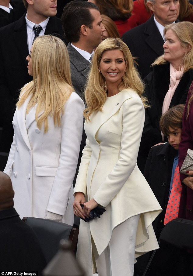 Ivanka actually took a page from Hillary's playbook and wore a pantsuit in suffragette white, which became a staple of Hillary's wardrobe during her campaign