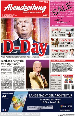 In Germany, theAbendzeitung Muenchen ran a picture of Trump with the word 'D-Day' and