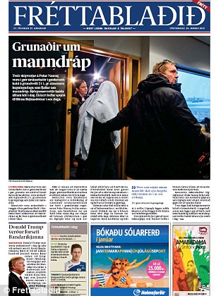 Frettabladid, Iceland's most circulated newspaper, gave the mogul a small space on its bottom left corner
