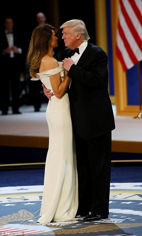 The president and first lady dance to 'I Will Always Love You' at the Salute to the Armed Forces gala at the National Building Museum on Friday