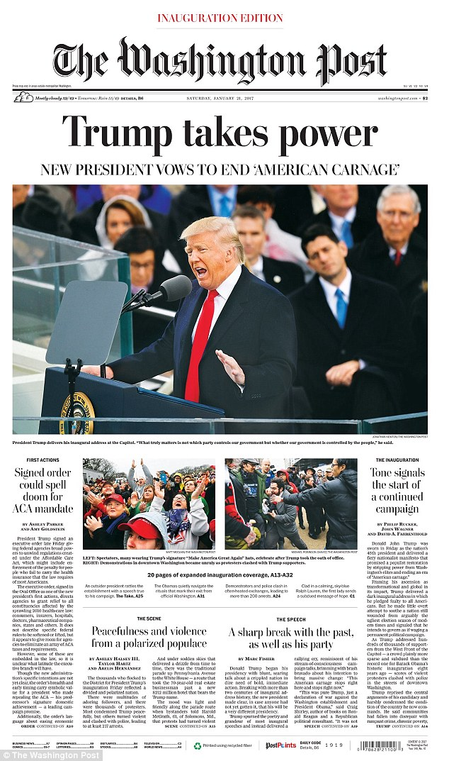 Trump also appeared on the front page of the Washington Post, which also picked up on the 'American carnage' quote like the New York Times did