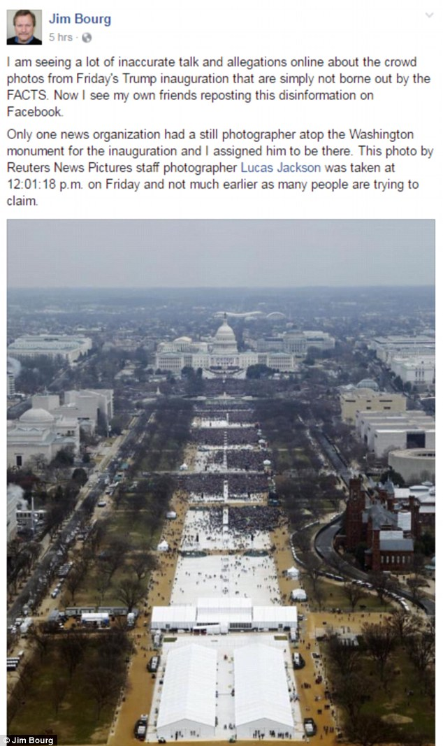 Reuters editor Jim Bourg hit back on Sunday saying this photo was taken at exactly 12:01:18pm on Friday during Trump's inauguration. Some have claimed it was taken earlier in the day, which is why the crowd appeared less than Obama's inauguration in 2009