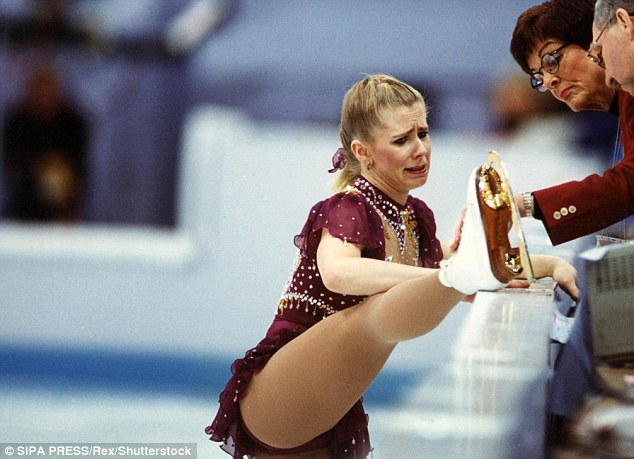 Tears: After the scandal, Harding finished in a disappointing eighth place at the 1994 Olympics