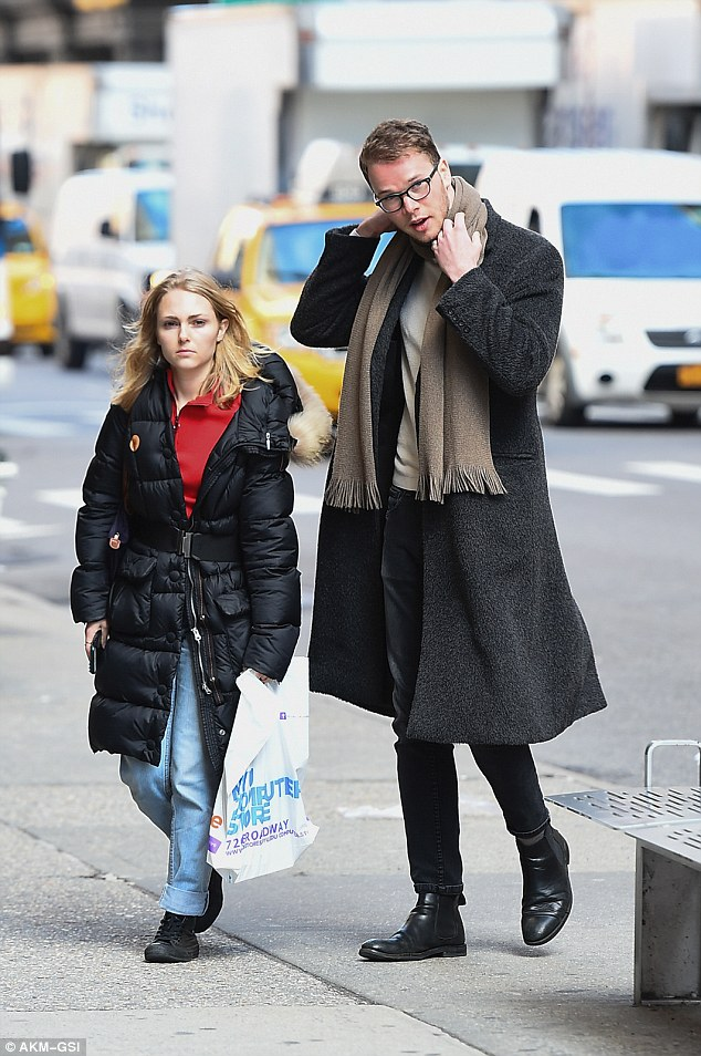 Walk and talk: The 23-year-old was spotted enjoying a stroll in the Greenwich Village area of Manhattan, a male friend at her side