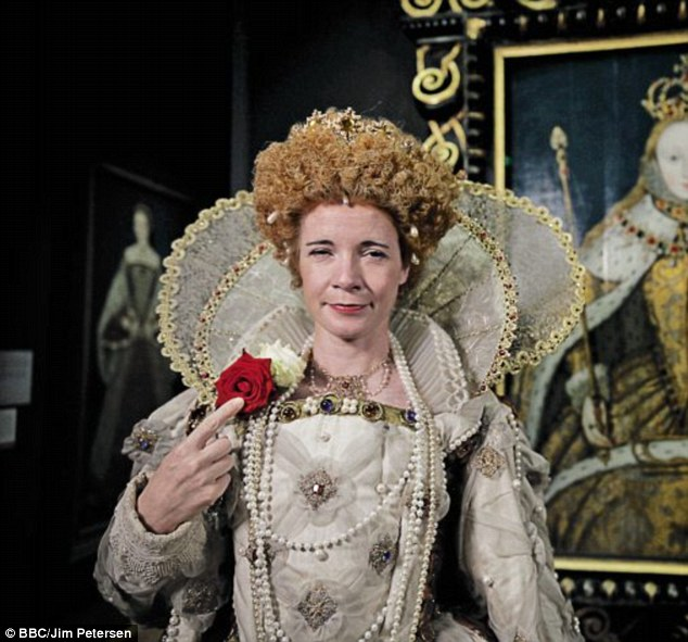 Historian Dr Lucy Worsley dressed as Elizabeth I for British History's Biggest Fibs on BBC4