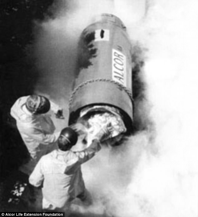 Cryogenics is the idea that death is a gradual process, and one that can be reversed if a dead body is frozen quickly enough. Pictured, Bedford was eventually transferred from his original 'cryocapsule' to a more modern container