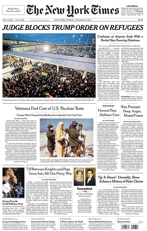 The front page of Sunday's New York Times is seen